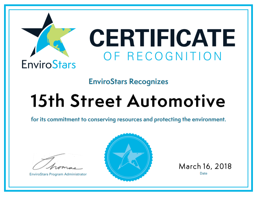 EnviroStars Certificate of Recognition
